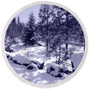 A Touch Of Snow In Lavender Round Beach Towel