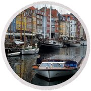 A Tour Boat At Nyhavn Round Beach Towel