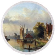 A Town By The River Round Beach Towel