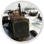 A Tractor In The Snow Round Beach Towel