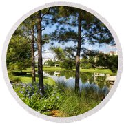 A Tranquil Pond At Walt Disney World Round Beach Towel