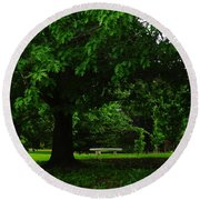 A Tree And A Bench Round Beach Towel