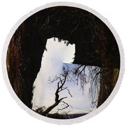A Tree In A Square Abstract Round Beach Towel