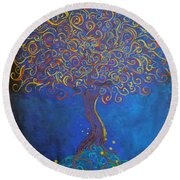 A Tree Of Orbs Glows Round Beach Towel
