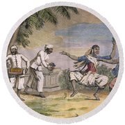 A Troupe Of Bayaderes, Or Indian Round Beach Towel by Pierre Sonnerat