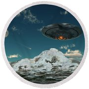 A Ufo Flying Over A Mountain Range Round Beach Towel