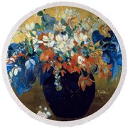 A Vase Of Flowers Round Beach Towel