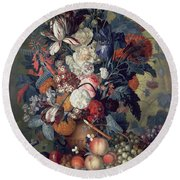 A Vase Of Flowers With Fruit Round Beach Towel