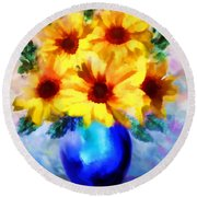 A Vase Of Sunflowers Round Beach Towel by Valerie Anne Kelly