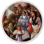 A Venetian Christening Party, 1896 Round Beach Towel by Henry Woods