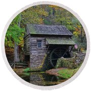 A Very Old Grist Mill Round Beach Towel