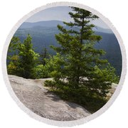 A View From A Mountain In A Vermont State Park Round Beach Towel