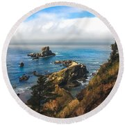 A View From Ecola State Park Round Beach Towel