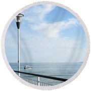 a View from Pier Round Beach Towel