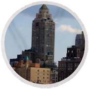 A View From The Met Rooftop Garden Round Beach Towel