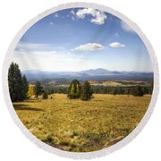 A View From The Peaks  Round Beach Towel