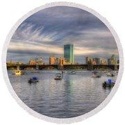 A View Of Back Bay - Boston Skyline Round Beach Towel