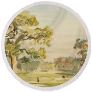 A View Of Chirk Castle, 1916 Round Beach Towel