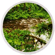 A View Of Eagle Creek Round Beach Towel