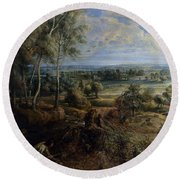 A View Of Het Steen In The Early Morning Round Beach Towel by Peter Paul Rubens