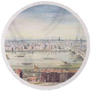 A View Of London From St Pauls To The Custom House, 1837 Round Beach Towel