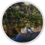 A View Of The Nature Center Merged Image Round Beach Towel