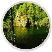 A View Of The Seleway River Round Beach Towel