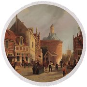 A View Of The Zuiderspui Round Beach Towel