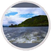 A View Of Urquhart Castle Round Beach Towel