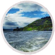 A View Of Urquhart Castle From Loch Ness Round Beach Towel
