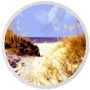 A View Through The Dunes To The Ocean Round Beach Towel