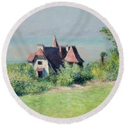 A Villa At Trouville Round Beach Towel by Gustave Caillebotte
