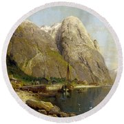 A Village By A Fjord Round Beach Towel