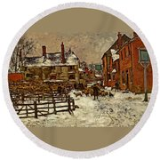 A Village In The Snow Round Beach Towel