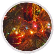 A Vintage Christmas  Round Beach Towel by Laurie Lundquist