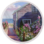 A Visit To P Town Two Round Beach Towel by Laura Lee Zanghetti