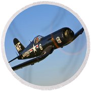 A Vought F4u-5n Corsair Aircraft Round Beach Towel
