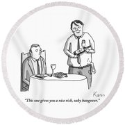 A Waiter Describes The Bottle Of Wine He Holds Round Beach Towel by Zachary Kanin