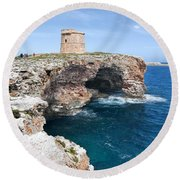 Xviii Defensive Tower In Alcafar Minorca - A Walk About Cliffs Round Beach Towel