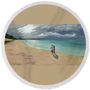 A Walk At Tumon Bay Guam Round Beach Towel