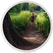 A Walk By The Reservoir Round Beach Towel