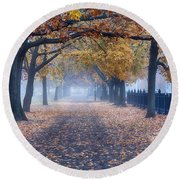 A Walk In Salem Fog Round Beach Towel