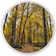 A Walk In The Dune Land Forest Round Beach Towel
