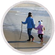 A Walk On The Beach Round Beach Towel