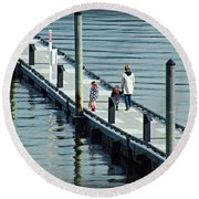 A Walk On The Pier Round Beach Towel