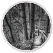 A Walk Through The Woods Round Beach Towel