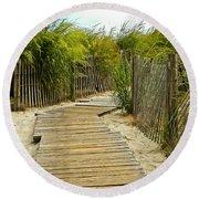 A Walk To The Beach Round Beach Towel