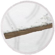 A Walkway Through Snow Round Beach Towel