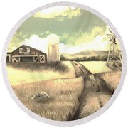 A Warm Welcome Antique Round Beach Towel