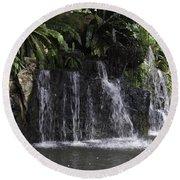 A Waterfall As Part Of An Exhibit Inside The Jurong Bird Park Round Beach Towel